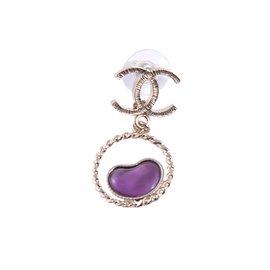 Chanel-Drop and dangle purple hearts-Purple