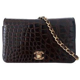 sac vintage crocodile marron - Chanel