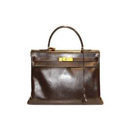 Sac kelly hermes 35 en cuir box marron accessoire dore - Hermès