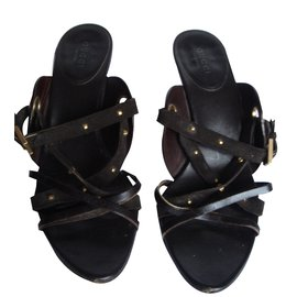 Sandales-mule chocolat talon haut Gucci