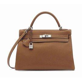 Magnifique sac HERMES Kelly 35 cm cuir Togo gold bijouterie Palladium - Hermès