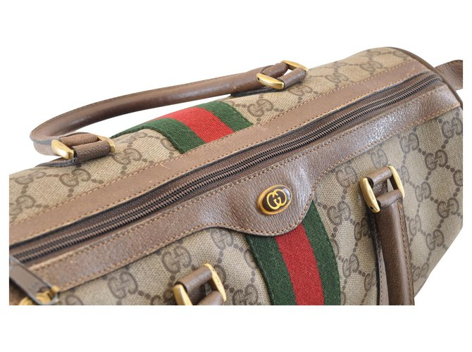 GUCCI Sherry Line GG Canvas Hand Bag Brown Blue Vintage
