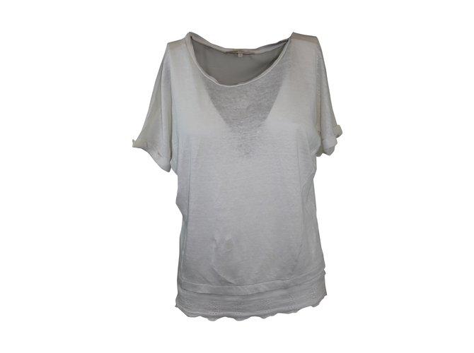 Maje Top lin T Soie Closet Blanc Tops Joli Ref Style Shirt 5157 S6qwxCRd