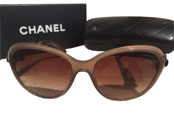 b582b8818b198c Lunettes Chanel lunettes de soleil camélias Cuir,Plastique Marron  clair,Caramel ref.5287