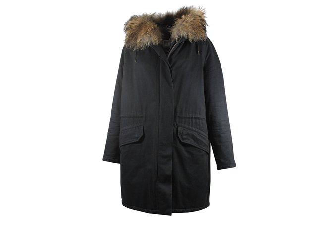 Manteaux Yves Salomon Parka avec capuche en fourrure Coton Noir ref.5562