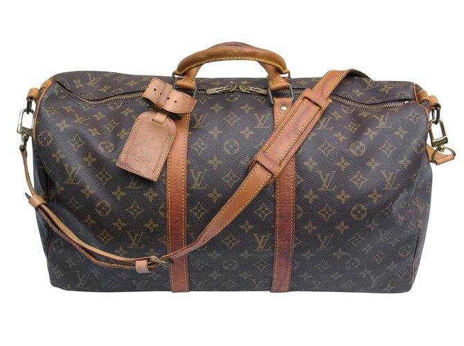 Sacs de voyage Louis Vuitton Keepall 50 bandoulière Cuir Marron ref.6303 1ad5fdcc53b