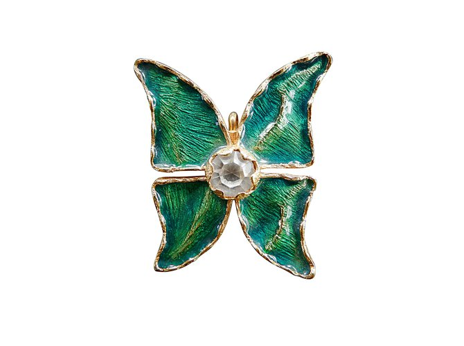 7ca546f8409 Yves Saint Laurent Pins & brooches Pins & brooches Metal Green ref ...