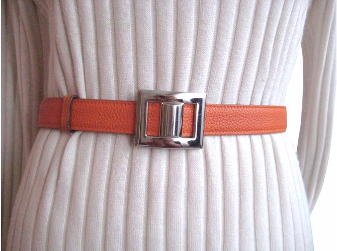 Ceintures Hermès ceinture mixte Cuir Orange ref.6629 - Joli Closet 09d5e90fa07