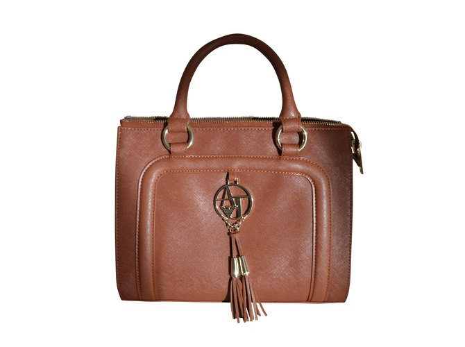 bc9b7436cb00 Giorgio Armani Handbags Handbags Leather Caramel ref.6751 - Joli Closet