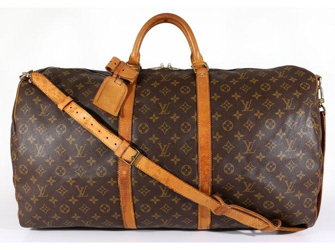 20c0e5b4416 Sacs de voyage Louis Vuitton Keepall 60 bandoulière Toile Marron ref.6875