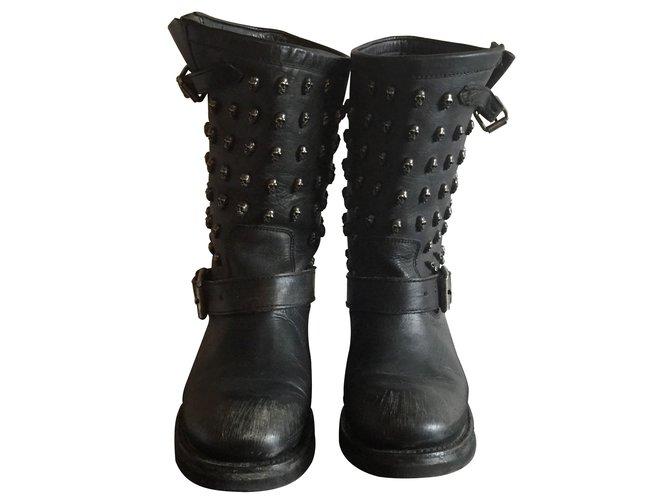 Ref Joli Cuir Ash Noir Bottes Closet 7055 Motardes Boots qwHW6B