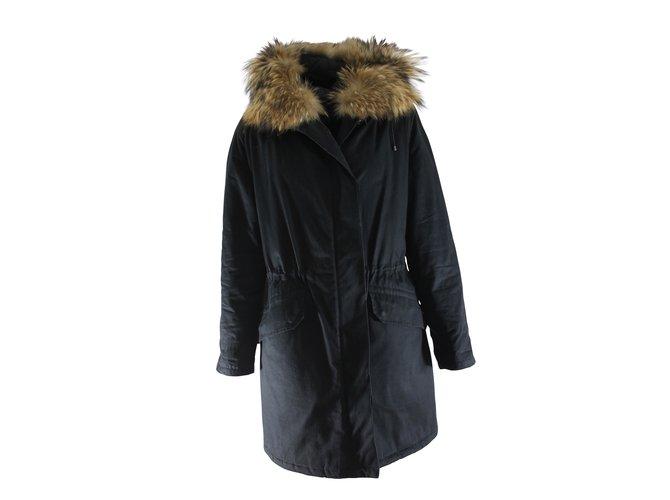 Yves Salomon Coats, Outerwear Coats, Outerwear Cotton,Fur Black ref.7082