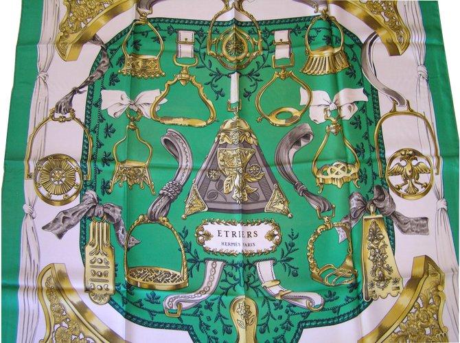 Hermès Etriers Silk scarves Silk Green ref.7330 - Joli Closet 76b56d18167