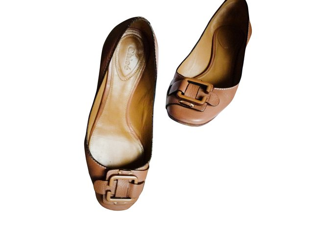 ec1949b1c Chloé Ballet flats Ballet flats Leather Light brown ref.7478 - Joli ...