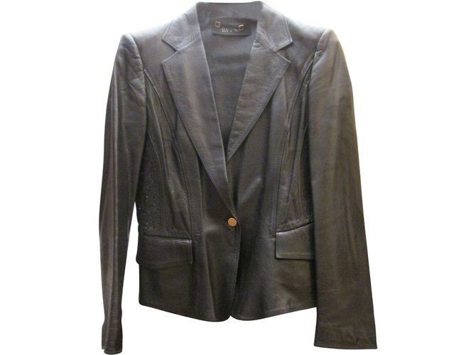 Vestes Gucci Veste courte en cuir Cuir vernis Noir ref.8068