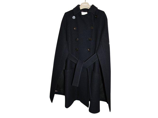 Chloé Coats, Outerwear Coats, Outerwear Wool Blue ref.8330