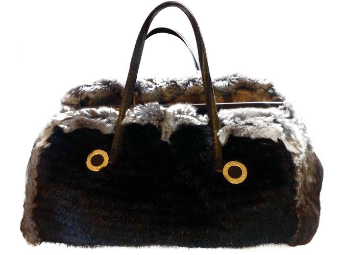 8597 Sacs Noir Fur Joli à Fourrure Bulgari main ref Closet rqPrxa1