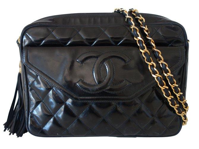 c3e2f4cc6b6d53 Chanel Handbags Handbags Patent leather Black ref.9328 - Joli Closet