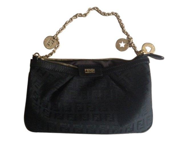 1e86165d8fef new zealand fendi clutch bags clutch bags cloth black ref.9664 f8243 36af5