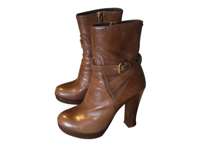36f06350bc Prada Ankle Boots Ankle Boots Leather Cognac ref.10371 - Joli Closet