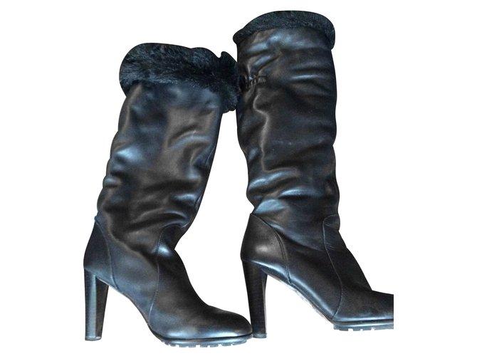 bottes zara bottes cuir noir joli closet. Black Bedroom Furniture Sets. Home Design Ideas