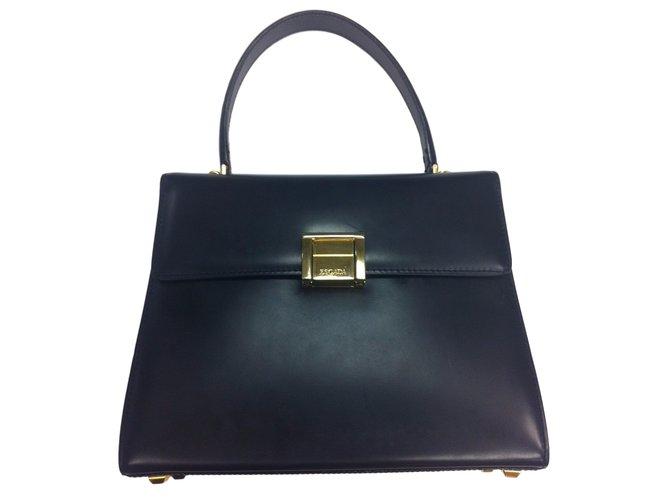 Escada Handbags Leather Blue Ref 10555