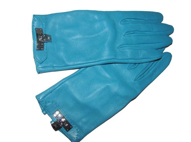 Hermès Gloves Gloves Leather Blue ref.10659