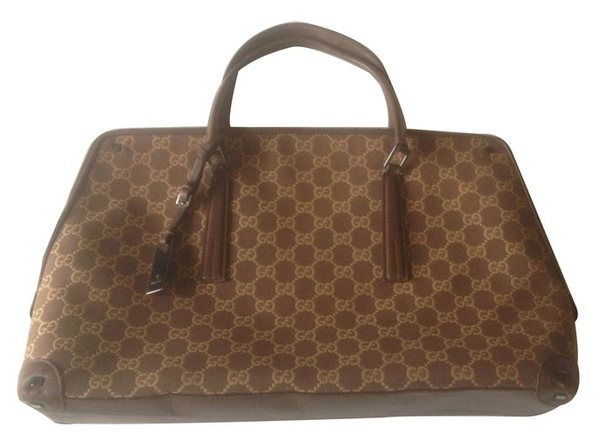ee69410b6c136 Gucci Handbags Handbags Cloth Brown ref.11209 - Joli Closet