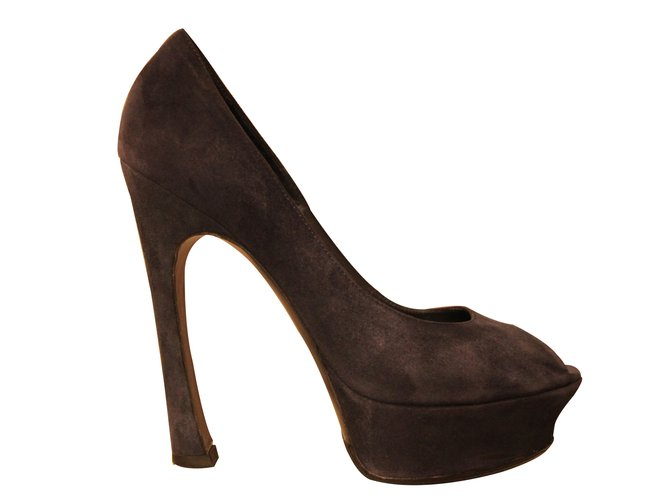 80bbb7e69a Yves Saint Laurent Heels Heels Pony-style calfskin Blue ref.11630 ...