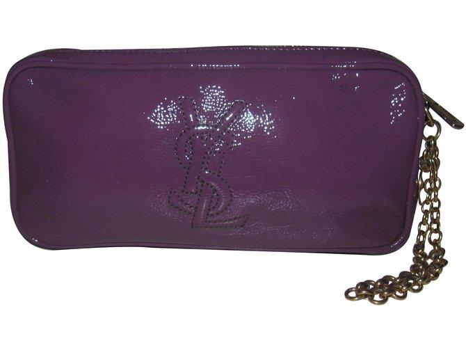 Yves Saint Laurent Clutch bags Clutch bags Patent leather Purple ref.11851 f65ba4d572e63