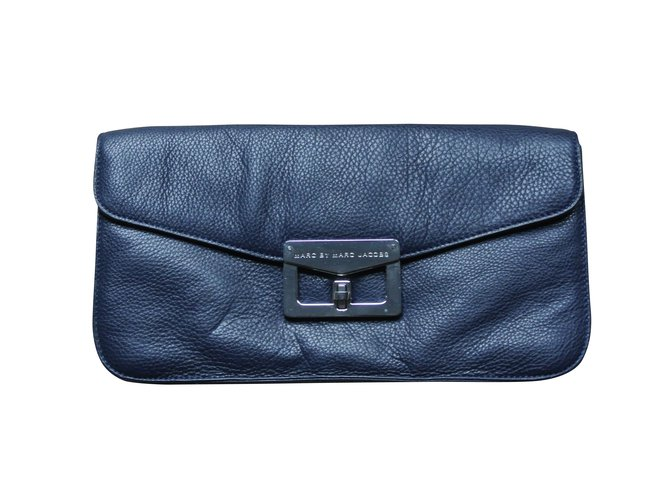 16e3e0acfea536 Marc by Marc Jacobs Clutch bags Clutch bags Leather Blue ref.12189 ...