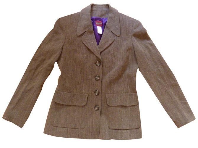 pantalons kenzo veste tailleur laine marron joli closet. Black Bedroom Furniture Sets. Home Design Ideas