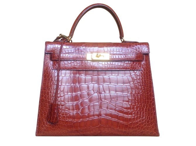 Hermès Alligator Kelly 32 Handbags Exotic leather Caramel ref.13147