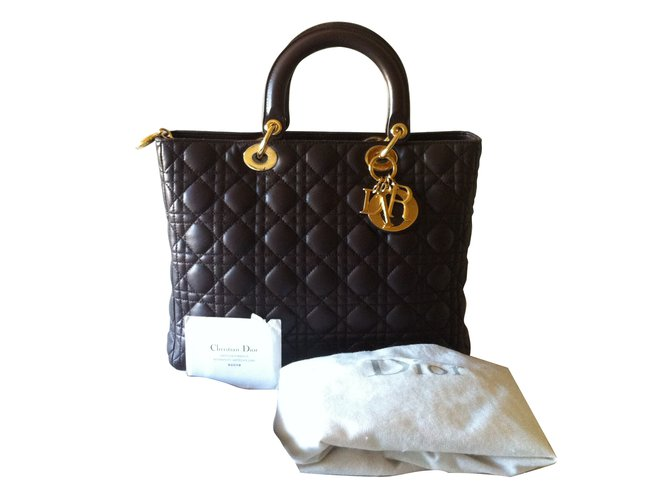 Sacs �� main Dior Lady Dior Cuir Marron ref.13527 - Joli Closet