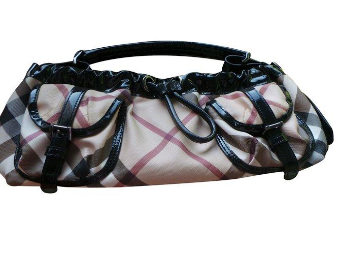 Burberry Handbags Handbags Patent leather Beige ref.13940
