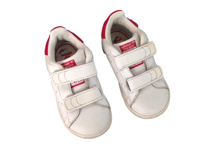 Baskets enfant Adidas Stan Smith Cuir Blanc ref.13941