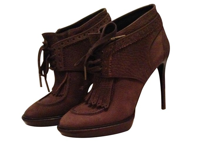 Burberry Ankle Boots Ankle Boots Leather Brown ref.13989