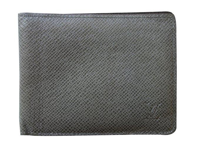 Petite maroquinerie homme louis vuitton portefeuille multiple cuir gris joli closet - Porte monnaie louis vuitton homme ...