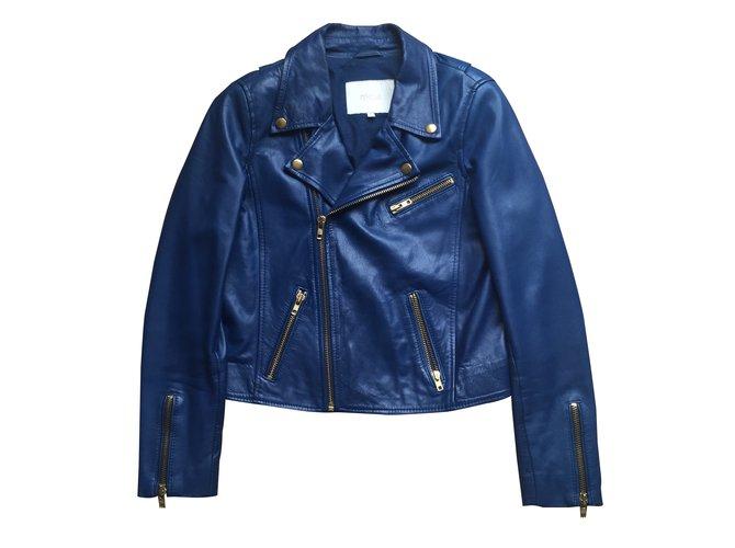 Perfectos Maje perfecto en cuir d agneau bleu électrique Cuir Bleu ref.14274 5baa35aace21