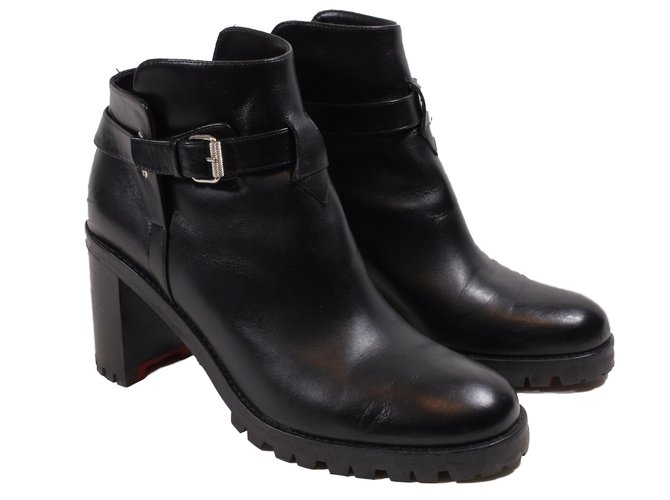 95fd5b47cedc Christian Louboutin Ankle Boots Ankle Boots Leather Black ref.14307 ...
