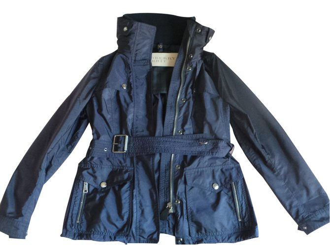 manteaux burberry brit manteau polyamide bleu joli closet. Black Bedroom Furniture Sets. Home Design Ideas