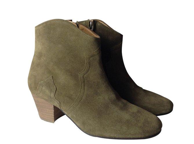 Bottines Isabel Marant Etoile Boots Daim Daim Kaki ref.15588
