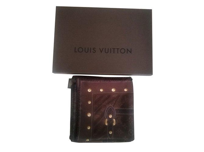 Foulards, écharpes enfants Louis Vuitton Foulards, écharpes Soie Marron ref.15616
