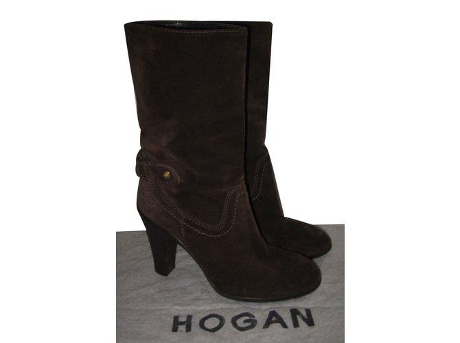 Hogan Ankle Boots Ankle Boots Deerskin Brown ref.15753 - Joli Closet