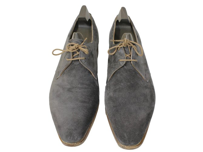 a74675968f94 Mocassins homme John Lobb Chaussures Willoughby Daim Gris ref.15811 ...