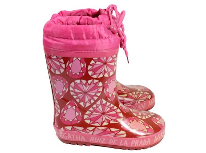 Bottes, bottines Agatha Ruiz de la Prada Moon Boots enfant Tissu Rose ref.15836