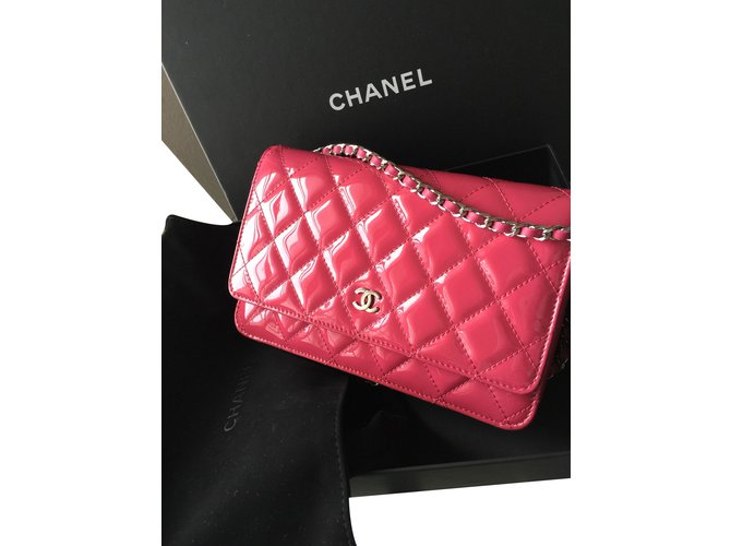 Chanel Pink Chanel wallet on chain WOC Clutch bags Patent leather Pink  ref.16527 c4216cecfb