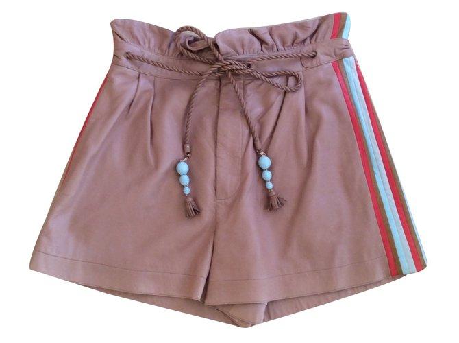 Chloé Shorts Shorts Leather Beige ref.16613