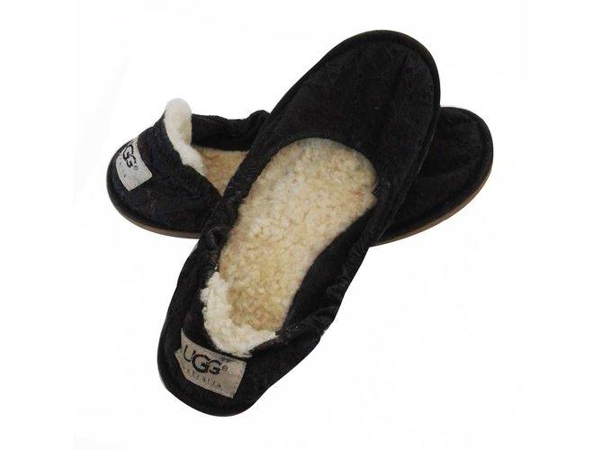 b72a6b535d40 Ugg Ballet flats Ballet flats Wool Black ref.16667 - Joli Closet