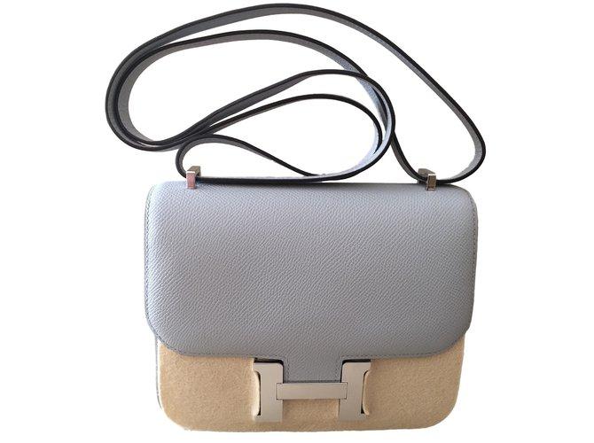 5593d0a51c ... switzerland hermès constance mini 18 handbags leather blue ref.16695  8be75 6ba72